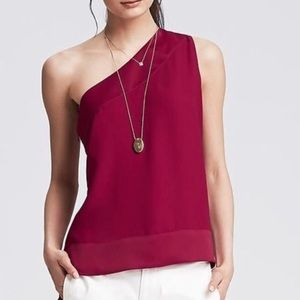 NWT Banana Republic-One Shoulder Burgundy Blouse-M